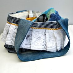 Womens handmade denim bag, recycled fabrics , book bag, beach bag fully lined