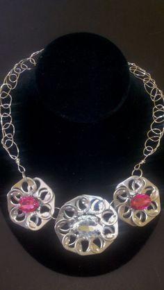 Triple Pink & Crystal Flower Poptab Necklace