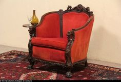 Lion Head & Paw Carved Mahogany Antique 1920's Armchair