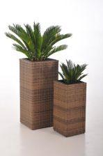 VIVANNO Pflanzgefäße Vase Polyrattan 'Block' 80/62cm hoch, hellbraun
