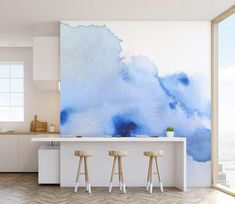Excited to share the latest addition to my #etsy shop: Watercolour Wash Wall Mural, Paste and Glue or Self Adhesive Wallpaper, Blue and White Wall Decor