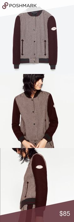 Zara checked bomber jacket Love vintage look... maroon color with check pattern Zara Jackets & Coats