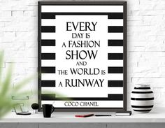 Coco Chanel Printable Quote Chanel  Art Print Black and White Coco Chanel Decor Girls Room Decor Fashion  Instant Download Wall Art Print