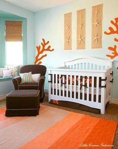 """"""""""" 25 Ocean Themed Bedroom Ideas: How to Design an Beach Bedroom """""""" DIY Ocean/Beach Theme Bedroom Ideas For Kids """""""" Beach Theme Nursery, Sea Nursery, Baby Nursery Neutral, Nautical Nursery, Girl Nursery, Orange Nursery, Ocean Nursery Themes, Baby Bedroom Ideas Neutral, Unisex Nursery Themes"""