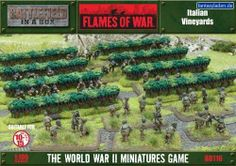 Flames of War: Italian Vineyards by Battlefront. $26.09. 8x Vineyard Rows. 1x Packet Green Static Grass. 2x Vineyard Fields. Across Europe from western France to the Mediterranean, grapes have been grown for thousands of years for use in wine or other products. Long rows of leafy vines were a common sight near most small towns or local monasteries.