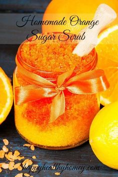 Homemade Orange Sugar Scrub helps to keep your skin soft and silky. The delicious orange smell is heavenly! #orangebodyscrub #HomemadeBodyScrub