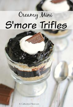 Creamy & indulgent mini S'more Trifles. Easy to make and a sophisticated way to serve the flavors of this popular campfire treat!