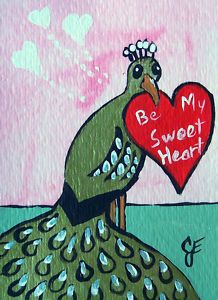 """""""Peacock Valentine""""  Original Painting Artist Trading Card...For your Peacock Board Laura...so cute!"""