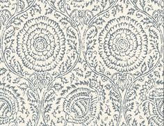 Kamala Indigo (PW78035/5) - Baker Lifestyle Wallpapers - An all over stylised floral trail, with large sunflower type flower heads with a distressed weathered look in a single colour. Shown here in dark blue. Paste the wall. Please request a sample for true colour match. Wide width. $69/roll