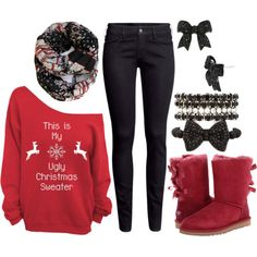 Christmas outfit, for the casual cozy days. I would probably wear knee high socks instead of UGG boots over the black skinnies. Cute Christmas Outfits, Holiday Outfits, Fall Winter Outfits, Autumn Winter Fashion, Christmas Fashion, Outfits For Teens, Casual Outfits, Cute Outfits, Ugly Sweater