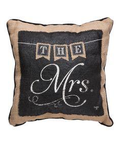 The Mrs.' Burlap Throw Pillow