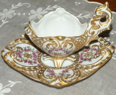 Demitasse Cup Saucer Set Ornate Hand Painted Gold Cranberry Roses Marked ILdeG $90.00