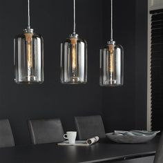 This ceiling light is made with beautiful glass chalices. The Farzana ceiling light is now available at Furnwise! Crystal Pendant Lighting, Kitchen Pendant Lighting, Kitchen Pendants, Chandelier Lighting, Verre Design, Lamp Design, Dining Room Light Fixtures, Dining Room Lighting, Luminaire Suspension Design