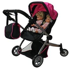 Babyboo Deluxe Twin Doll Pram/Stroller with Free Carriage Multi Function View -