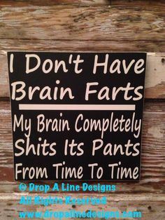 I Don't Have Brain Farts, My Brain Completely Sh!ts Its Pants From Time To Time. Sign  12x12  Sign Painted Sign  funny sign This.