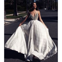 GENEVA GOWN Lurelly ($900) ❤ liked on Polyvore featuring dresses, gowns, white gown, cocktail dresses, pleated skater skirt, evening cocktail dresses and evening dresses