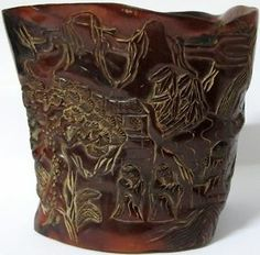 CHINESE BRUSH POTS | Old Chinese Carved Horn Brush Pot Statue w Landscape Scene | eBay