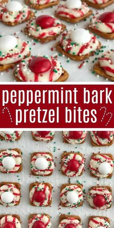 Peppermint bark pretzel bites are sweet n' salty perfection. Melted candy cane crunch Hershey kiss on top of a pretzel, and then topped with a peppermint white chocolate m&m candy. Perfect for Christmas cookie plates or just a fun Holiday treat. Christmas Bark, Christmas Snacks, Christmas Cooking, Christmas Parties, Christmas Candy Bar, Baking For Christmas, Christmas Puppy Chow, Homemade Christmas Treats, Christmas Holidays