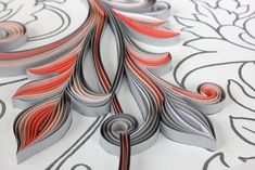 """3/8"""" quilling paper on Glory Silver wallpaper, detail. JUDiTH+ROLFE"""