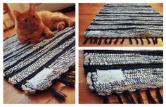 Maginifique tapis tissé à la main format 24 pouces par 36 pouces.  Fait à la main sur mon métier Ashford.  Fait de fibres 100% coton très
