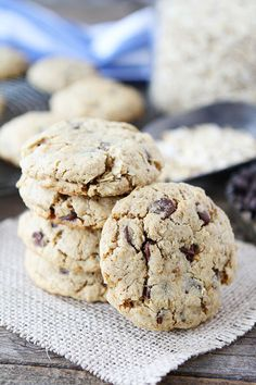 Whole Wheat Toasted Oatmeal Chocolate Chip Cookies Recipe on twopeasandtheirpod.com. Love these healthy chocolate chip cookies!