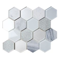 We have some new beautiful Mist Blend Hexagon Tile which is a combination of glass, marble, porcelain, and a crackle glass finish. https://www.subwaytileoutlet.com/products/Mist-Blend-Hexagon-Tile.html#.WCI0Vy0rKUk
