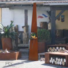 Brasero design pointe ou tour en acier Corten, Vertex, artisanal et fabriqué en France par AGtrema.