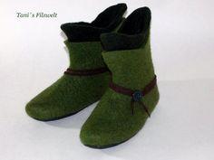 Die Hausstiefel sind sehr leicht und trotzdem warm. Als Geschenk für einen echten Robin Hood :)  Nassgefilzt , Nahtfrei in Doppel-Optik ****************************