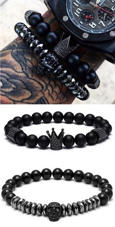Titanium Skull & Crown Natural Stone Bracelets.