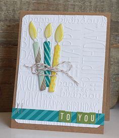 Happy Birthday Card from One Scrappin' Mama using Lifestyle Crafts happy birthday #embossing folders. #birthdaycards
