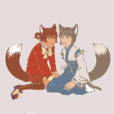 Random Drawing: Kitsunes by Aunumwolf42.deviantart.com on @DeviantArt------#kit #miko #oc #fox #foxboy #kitsune #photoshop #kenomimi #kenomomimi #painttoolsai #ocsoriginalcharacters