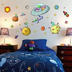 Cohete en el espacio vinilos infantiles vinilos for Vinilos para habitacion de bebe nino