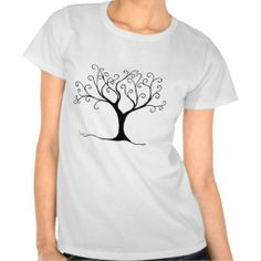 Whimsical Swirly Tree - Pen and Ink Drawing Tee shirts for women and girls <3