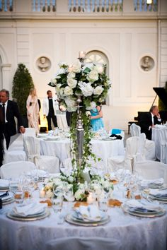 Candlestand with flowers Wedding Dinner, Church Wedding, Wedding Decorations, Table Settings, Marriage, Rome Italy, Villa, Weddings, Flowers
