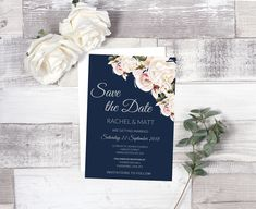 Beautifully designed floral style Wedding Save The Date with a contemporary layout and romantic fonts.