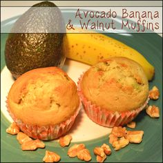 Avocado Banana & Walnut Muffins - everyone loved these, a great twist to the classic banana nut muffin :)