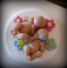 Sweet baby twins baby shower cake topper customizable. $36.00, via Etsy.