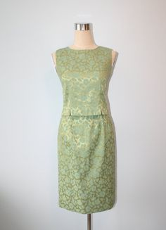 1960s Jackie O Dress / Vintage Green Gold by FoxyBritVintage, $46.00