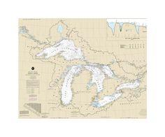 Great Lakes, Lake Chamlain to Lake Of The Woods Nautical Chart Vinyl Print