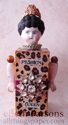 FASHION QUEEN - Assemblage Art Doll - OOAK - mixed media.  via Etsy.