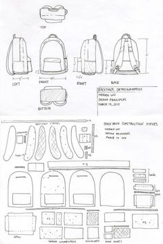 1 week project backpack re design to fit the activities and needs of a day tourist sketch model made from chipboard muslin paper cardboard Soft Goods Re-Design (Tourist Backpack) by Megan Wu, via Behance Fabrics and wool for toys, dolls Tilde and others Backpack Tutorial, Diy Backpack, Small Backpack, Leather Bag Pattern, Denim Bag, Purse Patterns, Leather Projects, Leather Craft, Diy Clothes