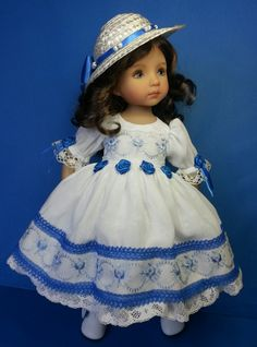 """Special Occasion Dress & Hat for 13"""" Little Darling Doll. Luxury dress of a delicate semi-crinkle fabric, with embroidered organza overlay edged with lace. Soft muslin underskirt with deep vintage style lace panel. Made in the UK by Salstuff, find me on facebook - Sally Channon."""