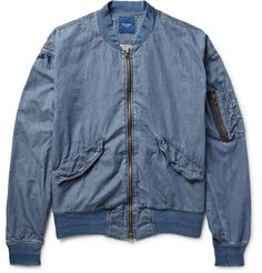 <a href='http://www.mrporter.com/mens/Designers/Beams'>Beams</a> reworks the classic 'MA-1' bomber jacket with this light-blue cotton-chambray version. Cut in a semi-fitted silhouette, it's got all the classic details, including a ribbed collar and cuffs and a zipped sleeve pocket. Wear yours to add personal style to laid-back looks.
