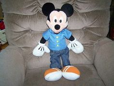 "Disney 22"" Talking MICKEY MOUSE Plush Doll Blue Shirt and Jeans Euc"