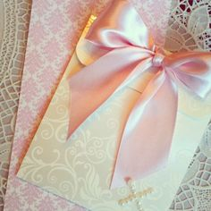 Soft pink baby girl baptism invitation - handmade wedding invite on Etsy, $5.00