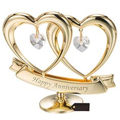 Matashi Gold Plated Happy Anniversary Double Heart Figurine Ornament with Genuine Crystals (Clear Crystal) - Great Gift for Husband Wife Mother Father, Cake Topper, Wedding Vows, Romantic Gifts Romantic Anniversary, Unique Anniversary Gifts, Anniversary Gifts For Husband, Happy Anniversary, Anniversary Banner, Marriage Anniversary, Anniversary Quotes, Anniversary Ideas, Best Wedding Gifts