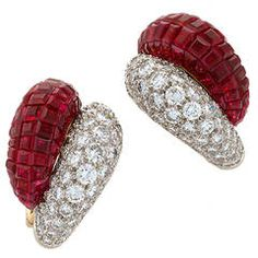 Van Cleef & Arpels Ruby Diamond Invisibly Set Earrings
