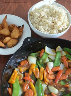 Get your kids to eat their greens by mixing it up with rice and crispy shrimp for a #healthy dinner!