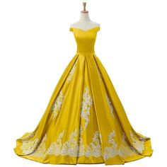Sunvary 2016 Cap Sleeves Ball Gown Appliques Quinceanera Prom Dresses... ($220) ❤ liked on Polyvore featuring dresses, gowns, yellow dress, cap sleeve dress, applique gown, cap sleeve ball gown and yellow evening dress
