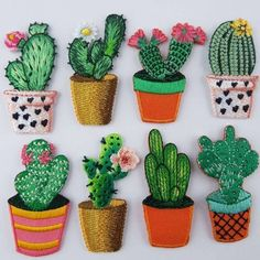 Lovely Quality Cactus Motif Gardening Flower Plant Patch Repair Iron or Sew On
